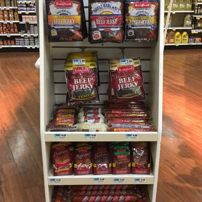 Sweet Baby Ray's Vs Bridgeford Beef Jerky Endcap