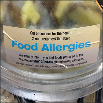 Food Allergies Warning On Samples Square