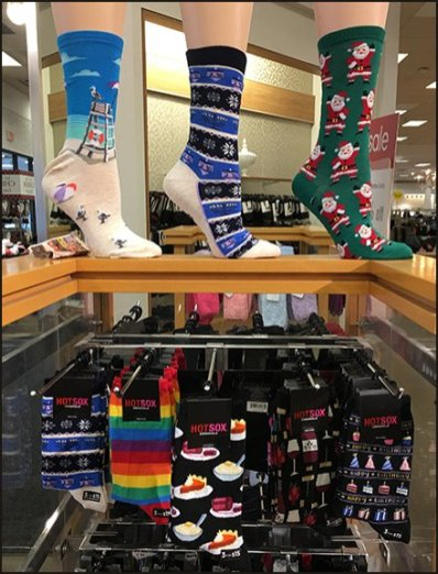 Holiday HotSox Christmas Originals Display at Bon-Ton