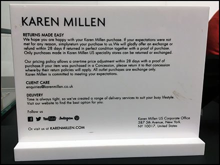 Return Policy Plaque At Karen Millen Flagship Store