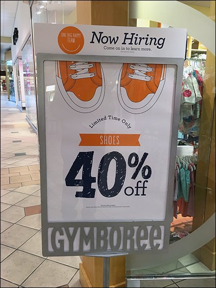 Hiring Header For Gymboree Store-Entry Sign