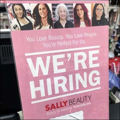 We're Hiring Cashwrap Sign At Sally Beauty