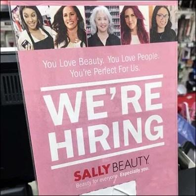 We're Hiring Cashwrap Sign At Sally Beauty
