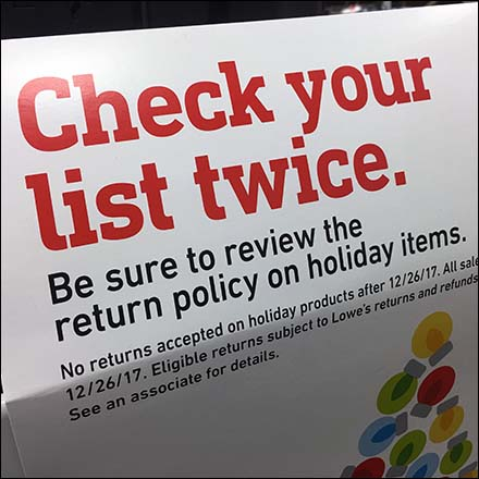 Short Return Policy on Holiday Items Feature