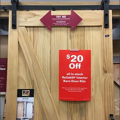 Working Barn Door Hardware Display In-Store