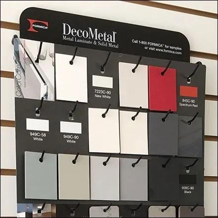 Formica DecoMetal Samples Slatwall Standoffs