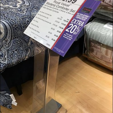 Acrylic Sign Stand Podium for Bed Linen