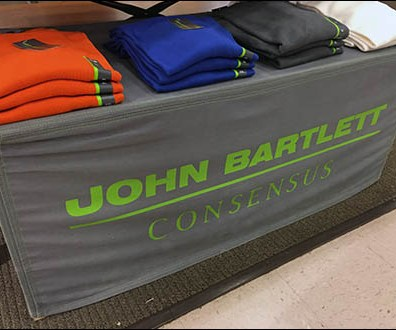 John Bartlett Branded Table Drape and Backdrop
