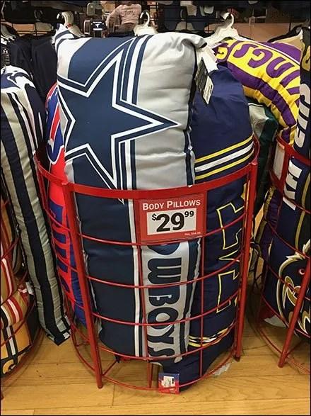 Branded NFL Football Body Pillow Bulk Bin