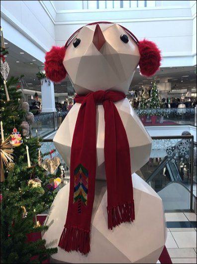 Giant Snowman Polyhedron Visual Merchandising