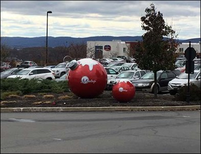 Giant Christmas Ornaments at the Shoppes at Montage