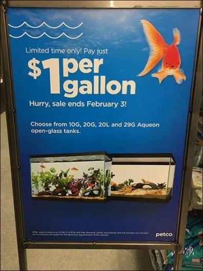 $1 Per Gallon Aquarium Sale Pricing Strategy