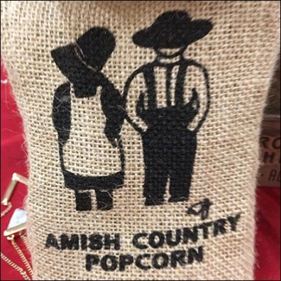 Amish Country Popcorn Burlap Bag Merchandising