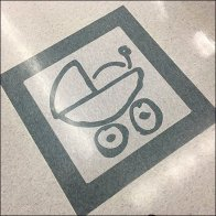 Baby Carriage Floor Graphic Tile Is Permanent