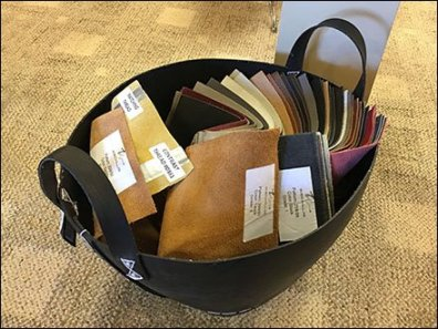 Fabric Samples Swirl In A Carry Basket