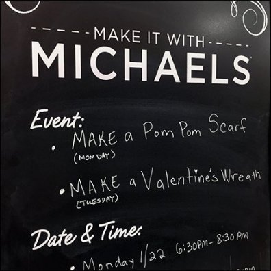 Make It With Michaels Calendar Events Feature