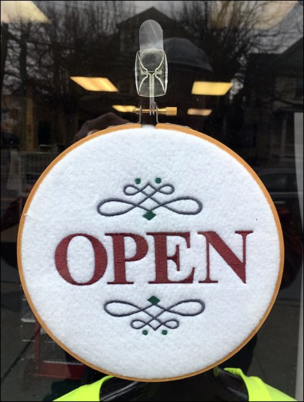 Open For Business Embroidered Sign