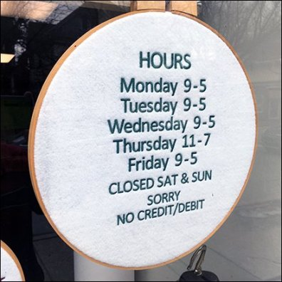 Store Hours Embroidered Sign