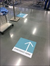 Checkout Here Floor Graphic Arrows 1