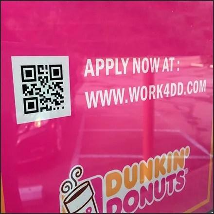 Dunkin Donuts Hiring QR Code Feature