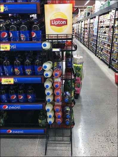 End-On Declined Lipton Brisk Tea Merchandising