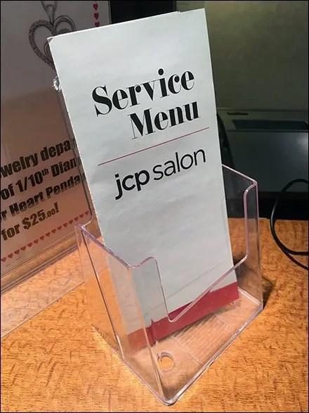 Salon Service Menu Takeout Acrylic Holder