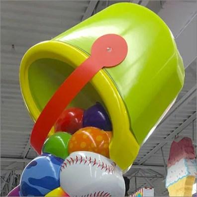 Ball Dump Bulk Bin Tower Display Topper Feature