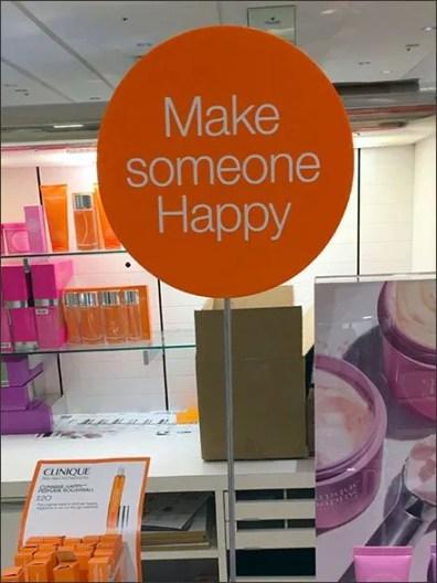 Make Someone Happy Clinique Sign Stand