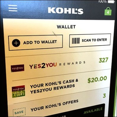 Kohls Mobile App Sign 3, Store All Savings Feature