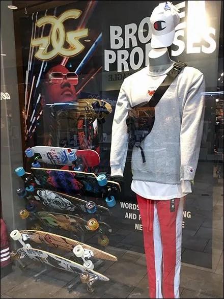 Skateboard Rack as Window Dressing