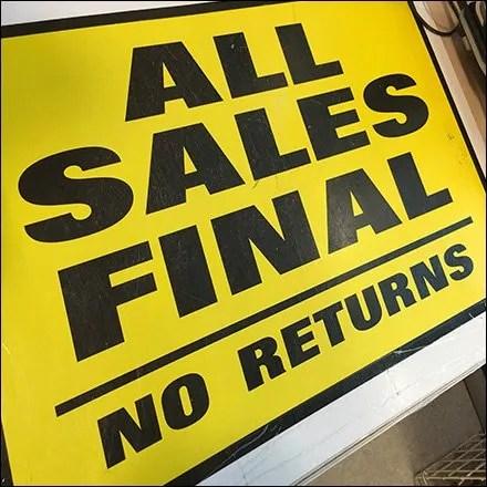 All Sales Final Counter Mat Pronouncement