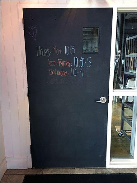 Blackboard Door Hosts Store Hours