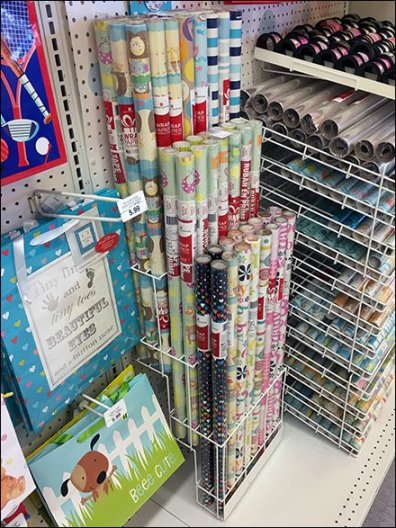 Tiered Gift Wrap Rack for Gondola Pegboard
