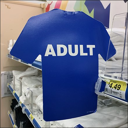 Shelf-Edge T-Shirt Size Flag By Gildan