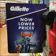 Gillette Now Lower Prices Shelf-Edge Flag