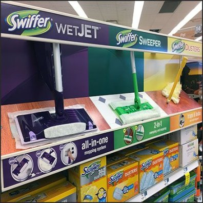 Swiffer Color-Codes Model Lineup at Shelf-Edge