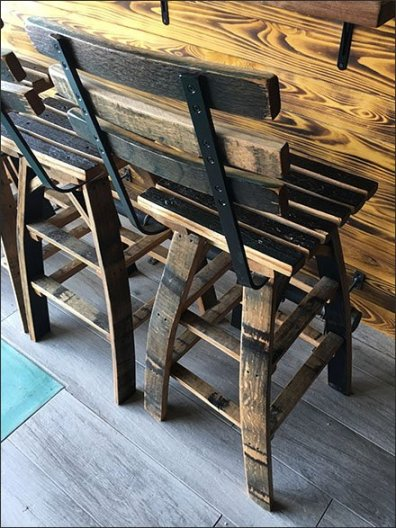 Viva Farms Whiskey Barrel Stave Stools