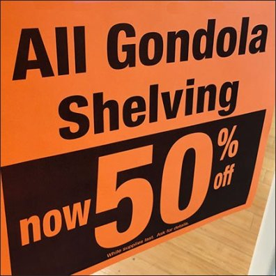 All Gondola Shelving Now 50% Off