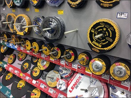 Circular Saw Blade Single Peg Wall Display