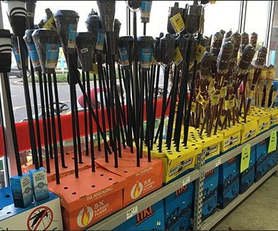 Tiki Torch Mass Merchandising At Store Entry
