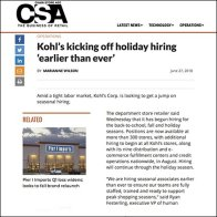 Kohl's Fast Forwards Holiday Hiring