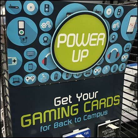 Power-Up Back-To-Campus Game Card Display