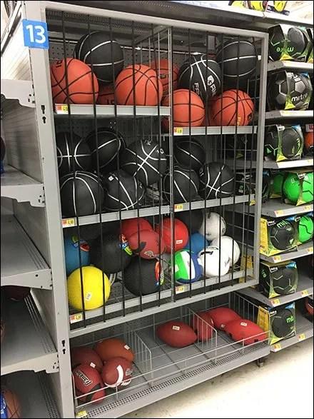 Bungee-Corded Ball Bulk Bin Gondola Inline