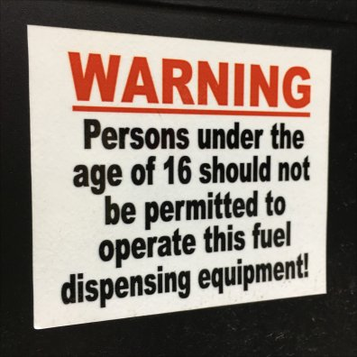 Age Limit on Gas Pump Use At Sheetz
