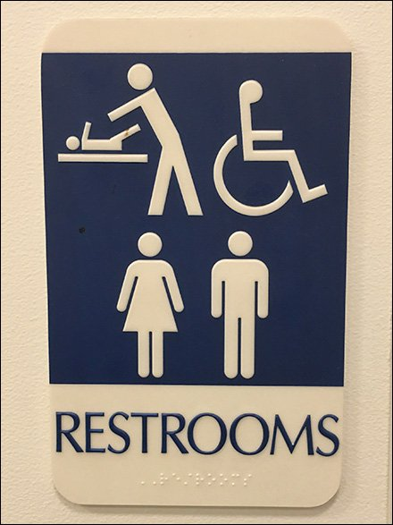 Restroom Sign Provides Four Choices