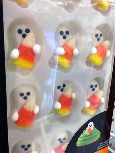 Ghostly Halloween Candy Corn Cake Decoration