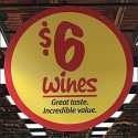 $6 Wines Department Ceiling Sign at Wegmans