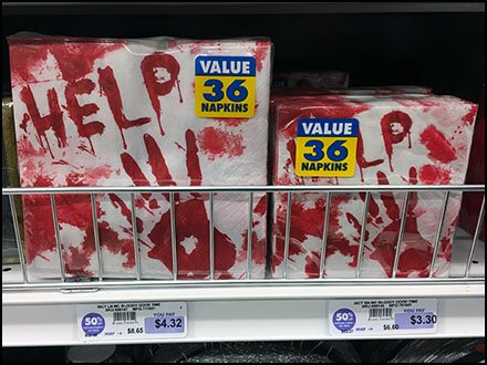 Bloody Halloween Help Napkin Front Fencing