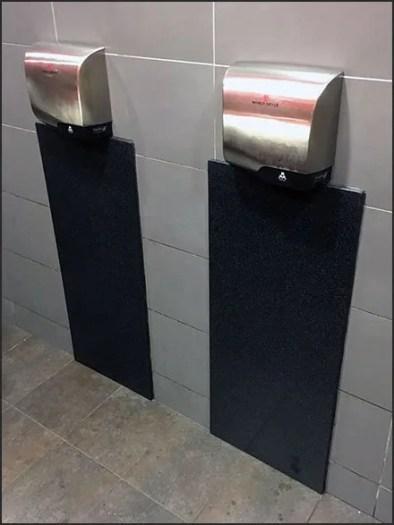 Restroom Hand Dryer Backsplash Upgrade