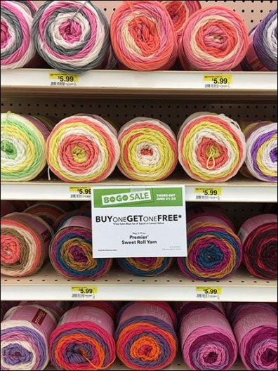 Sweet Roll Yarn Endcap Merchandising